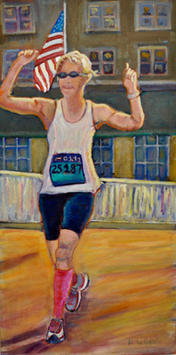 Nancy and the Boston Marathon SOLD - Copyright Marcia Feller2006